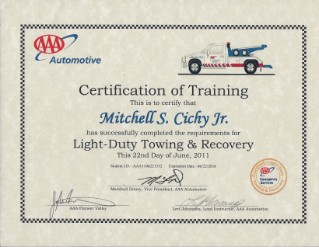 Light Duty Towing Certified